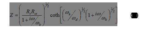 電気化学 の基礎:「図1.TiO2アノードの伝送線モデル」のインピーダンス式