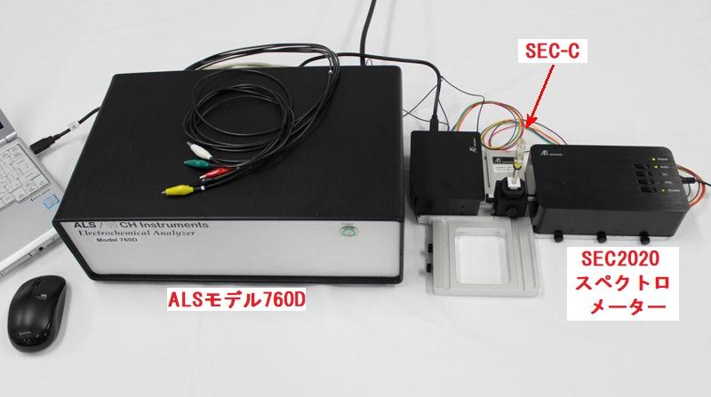 SEC2020 スペクトロメーターシステム の モデル760D バイポテンショスタット への接続